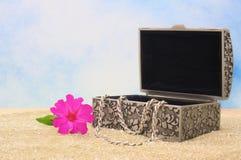 Caixa de jóia na areia Fotografia de Stock Royalty Free