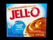 Caixa de Jello Sugar Free Butterscotch Pudding Mix foto de stock royalty free