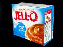 Caixa de Jello Sugar Free Butterscotch Pudding Mix imagens de stock
