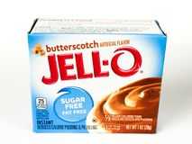 Caixa de Jello Sugar Free Butterscotch Pudding Mix fotos de stock royalty free