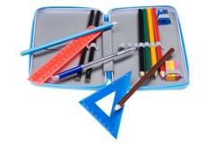 Caixa de lápis da escola Fotografia de Stock