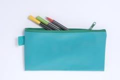 Caixa de lápis de couro azul Fotografia de Stock Royalty Free