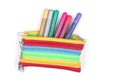 Caixa de lápis do brilho da escola Imagens de Stock Royalty Free