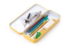 Caixa de lápis do metal Imagem de Stock