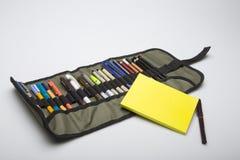 Caixa de lápis para penas de tiragem técnicas fotografia de stock