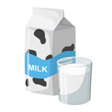 Caixa de leite e no vidro ilustração royalty free