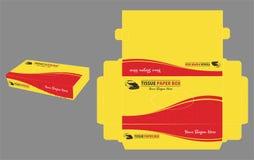 Caixa de lenço de papel amarela e vermelha Fotografia de Stock