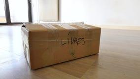 Caixa de livros em um apartamento vídeos de arquivo