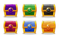 Caixa de madeira colorida fechado para o jogo de Ui, GUI do vetor Ilustração Stock