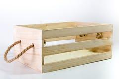 Caixa de madeira com punho da corda Fotografia de Stock