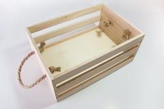 Caixa de madeira com punho da corda Fotografia de Stock Royalty Free
