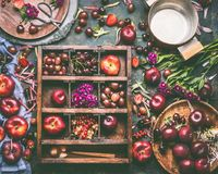 Caixa de madeira com seleção de frutos e de bagas do verão: morangos, pêssegos, ameixas, cerejas, groselhas e corintos fotos de stock royalty free