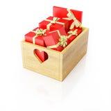 Caixa de madeira completamente dos presentes Fotografia de Stock