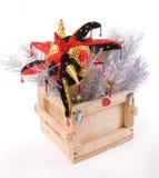 Caixa de madeira do ano novo Fotografia de Stock