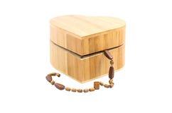 Caixa de madeira do coração Fotos de Stock Royalty Free