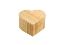Caixa de madeira do coração Fotografia de Stock