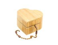 Caixa de madeira do coração Fotografia de Stock Royalty Free