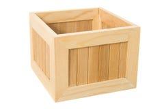 Caixa de madeira isolada no branco Fotos de Stock Royalty Free