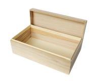 Caixa de madeira no branco Fotografia de Stock Royalty Free