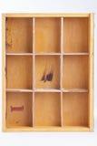 Caixa de madeira vazia no fundo branco Fotografia de Stock Royalty Free
