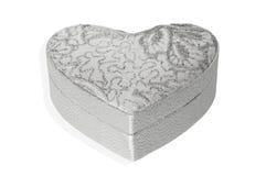 Caixa de prata do coração no fundo branco Fotos de Stock