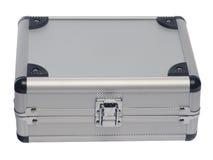 Caixa de prata do metal em um fundo branco Imagem de Stock