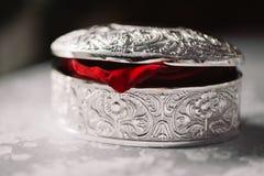Caixa de prata fechado do casamento com os anéis e a pétala cor-de-rosa vermelha Foto de Stock