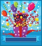 Caixa de presente aberta com balões e confetes Imagem de Stock Royalty Free