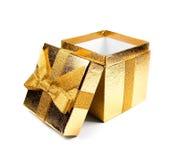 Caixa de presente alaranjada Fotos de Stock Royalty Free