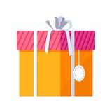 Caixa de presente alaranjada com fita branca Fotos de Stock Royalty Free