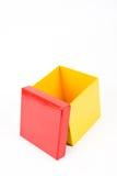 Caixa de presente amarela aberta Imagem de Stock Royalty Free