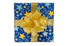 Caixa de presente azul Imagens de Stock Royalty Free
