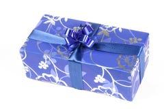 Caixa de presente azul Imagens de Stock