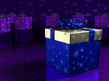 Caixa de presente azul. Imagens de Stock