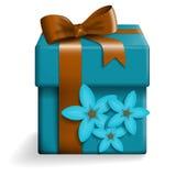 Caixa de presente azul Ilustração do Vetor