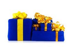 Caixa de presente azul Imagem de Stock Royalty Free