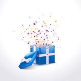 Caixa de presente azul aberta com fita e confetes do voo Fundo da venda do Natal Ilustração do vetor ilustração do vetor