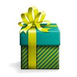 Caixa de presente azul com fita amarela Ilustração do Vetor