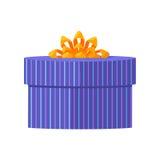 Caixa de presente azul com fita amarela Imagem de Stock