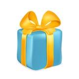 Caixa de presente azul com fita amarela e curva isolada no fundo branco Ilustração do vetor Foto de Stock