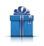 Caixa de presente azul com fita e curva Imagens de Stock