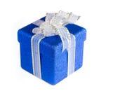 Caixa de presente azul Glittery imagem de stock royalty free