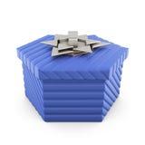 Caixa de presente azul isolada no fundo branco rendição 3d Fotos de Stock Royalty Free