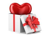 Caixa de presente branca aberta com coração no fundo branco Ilustra??o 3d isolada ilustração royalty free