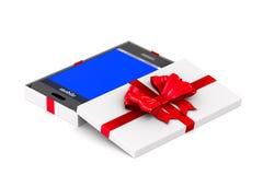 Caixa de presente branca aberta com o telefone no fundo branco Ilustra??o 3d isolada ilustração royalty free
