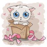 Caixa de presente branca bonita do gatinho Imagem de Stock Royalty Free