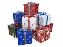 A caixa de presente branca colorida com uma fita e a caixa branca com pontos vermelhos isolaram a rendição branca do fundo 3d fotografia de stock royalty free