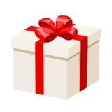 Caixa de presente branca com fita e curva vermelhas Ilustração do vetor Imagem de Stock