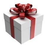 Caixa de presente branca com fita vermelha Fotos de Stock
