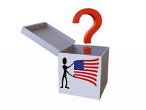 Caixa de presente branca com ponto de interrogação e bandeira dos EUA Fotografia de Stock